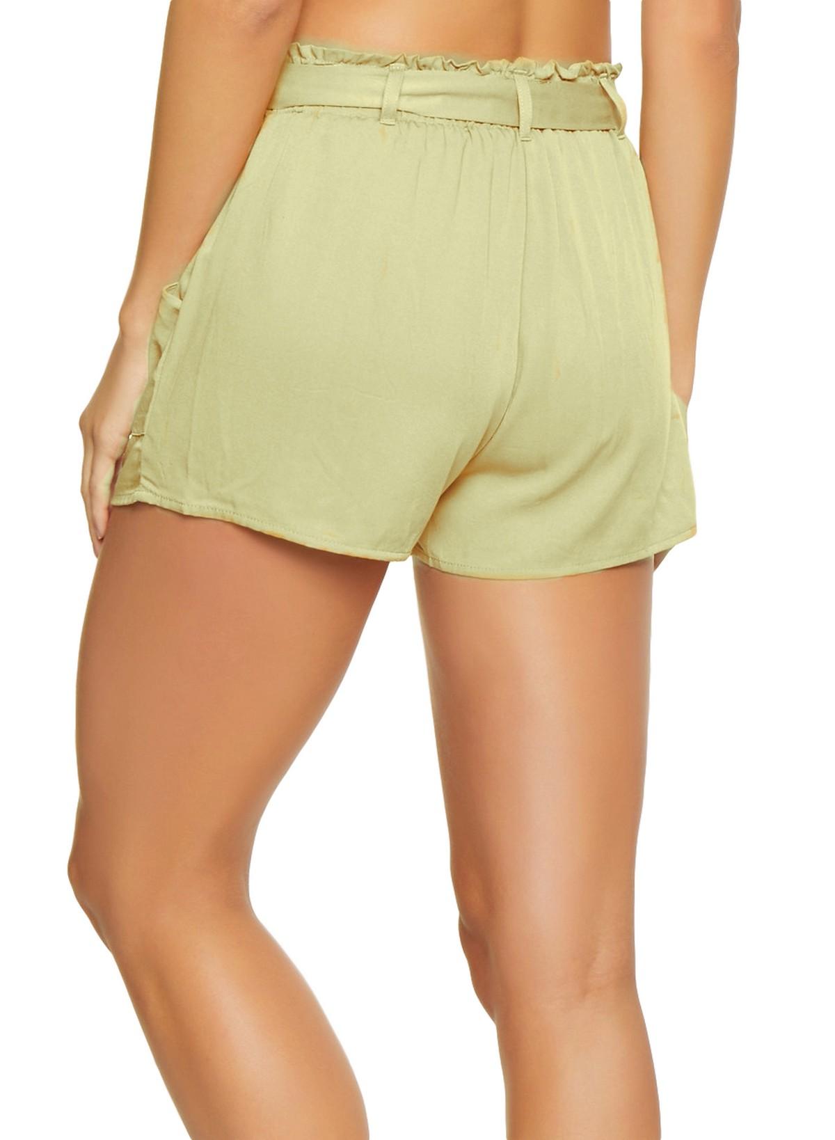 Paperbag Waist Chino Shorts in Cream