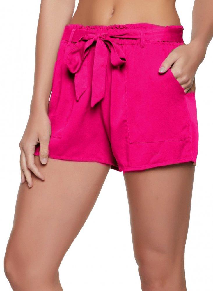 Paperbag Waist Chino Shorts in Fuchsia
