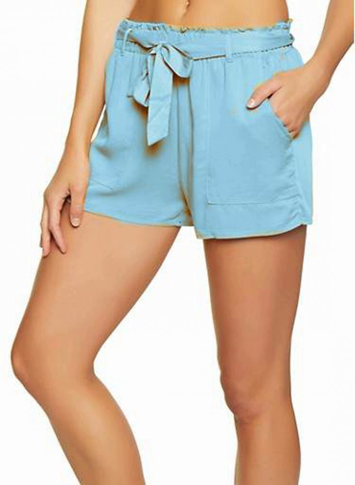 Paperbag Waist Chino Shorts in Light Blue