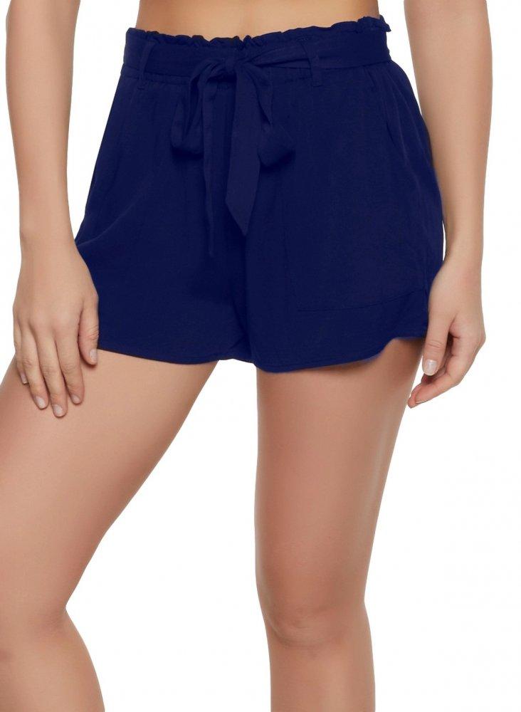 Paperbag Waist Chino Shorts in Royal Blue
