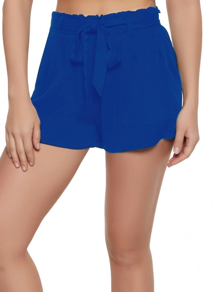 Paperbag Waist Chino Shorts in Turquoise Blue