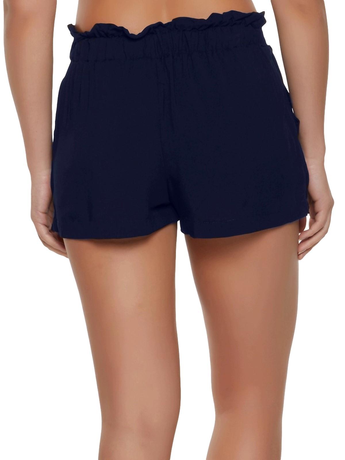 Paperbag Waist Shorts in Dark Blue