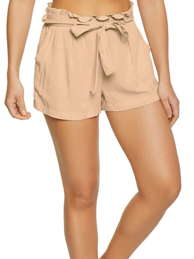 Paperbag Waist Shorts in Peach