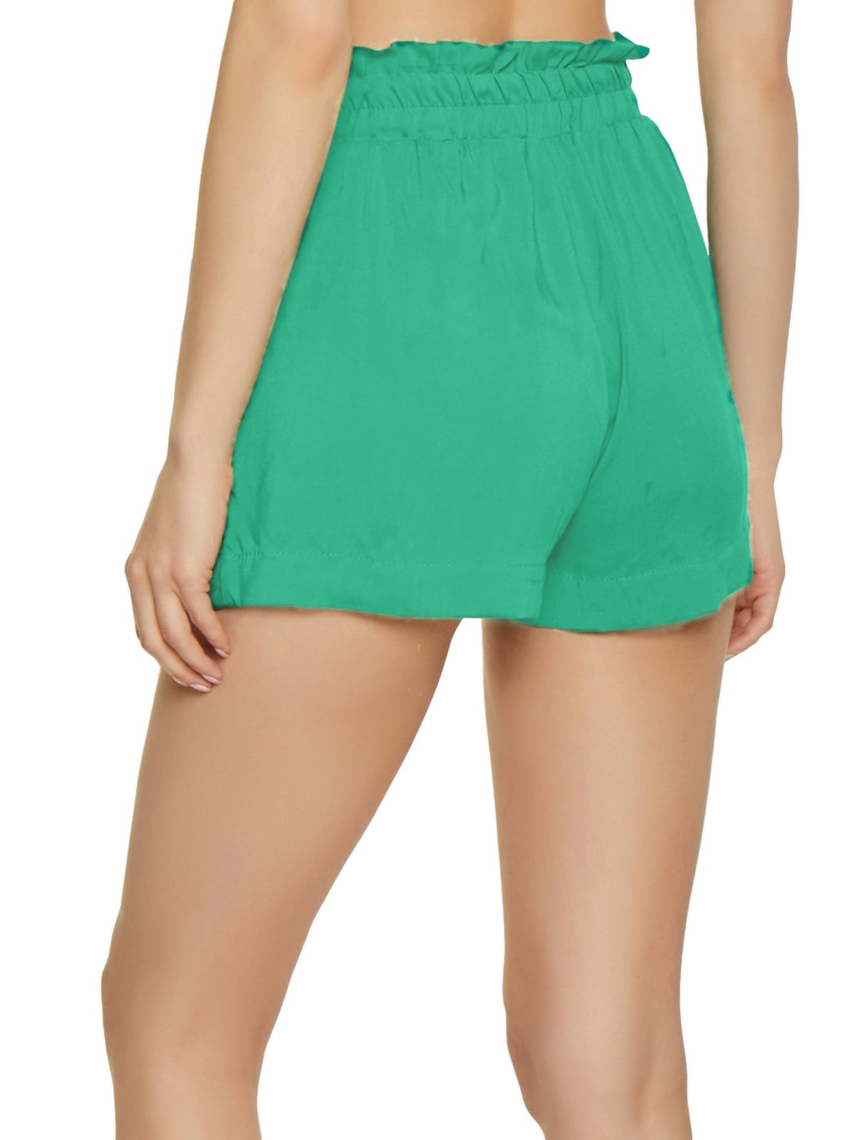 Paperbag Waist Shorts in Teal Green