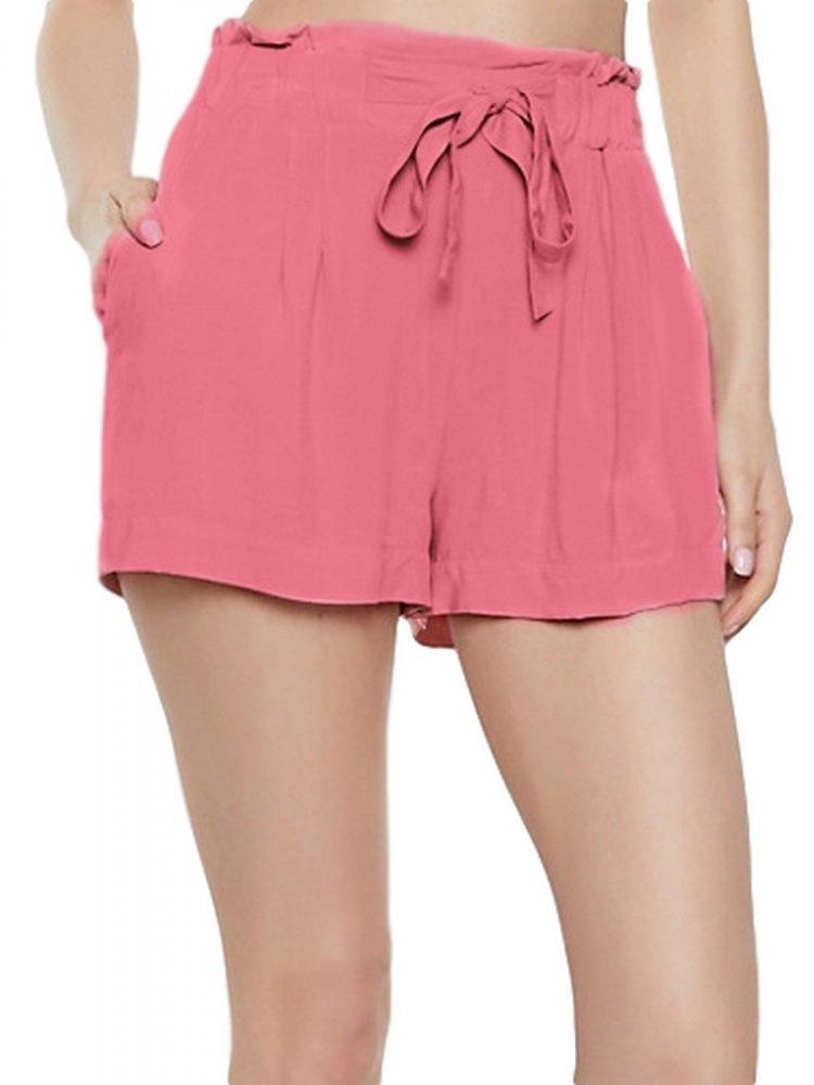 Paperbag Waist Shorts in Vinyl Hot Pink