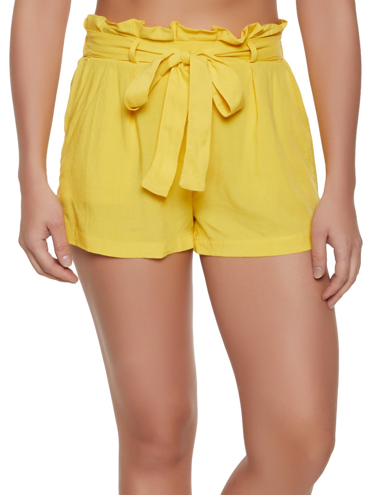 Paperbag Waist Shorts in Yellow