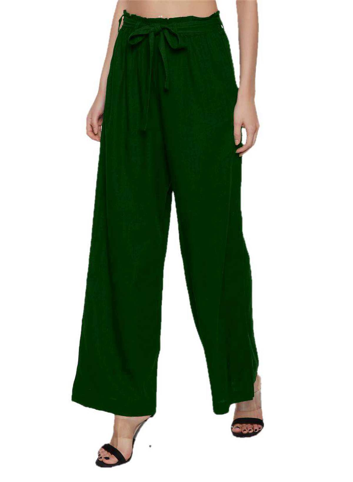 Paperbag waist Straigh Palazzo Pant in Bottle Green