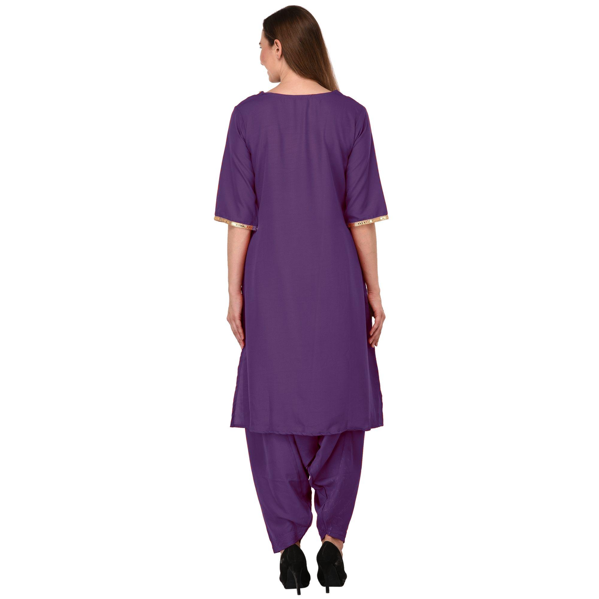 Pathani Embellished Kurti in Purple