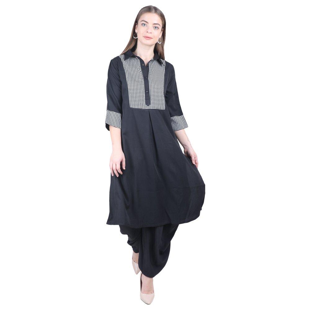 Pathani Panelled Kurti in Black