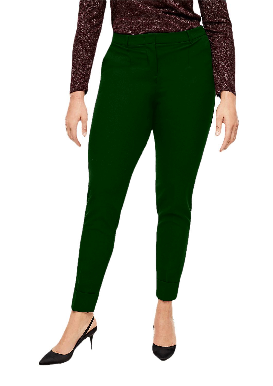 Patrorna Womens Slim Fit Cigarette Trousers (PT8A69_Dark Green_2XL) in Bottle Green