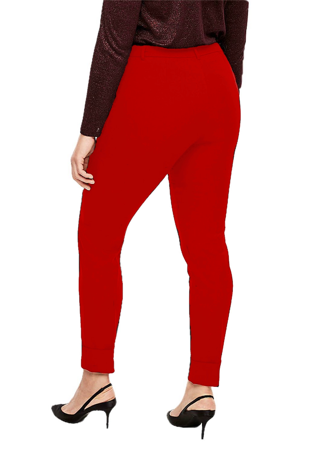 Patrorna Womens Slim Fit Cigarette Trousers (PT8A69_Red_2XL) in Red