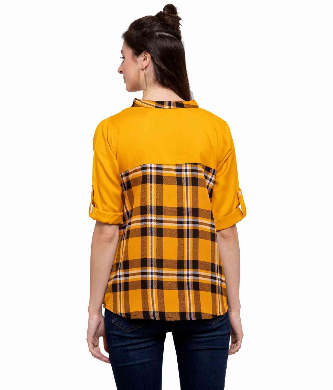 Peasant Top in Yellow Check Print: Mustard
