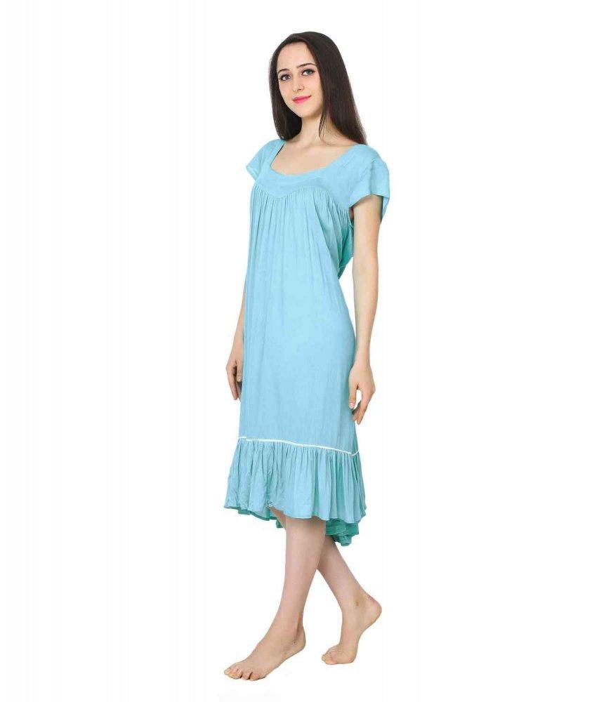 Peplum Bodice Smock Midi Night-Dress Nighty in Light Blue