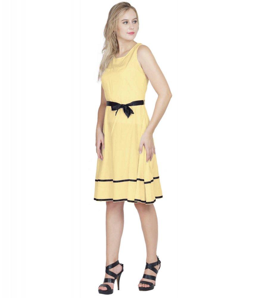Peplum Knee Length A-Line Dress in Gold