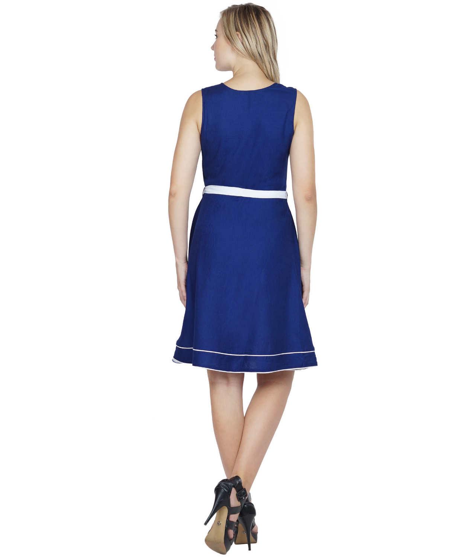 Peplum Knee Length A-Line Dress in Royal Blue