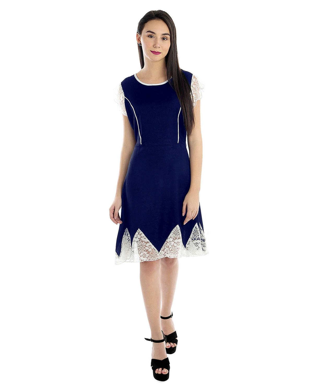 Peplum Knee Length Embellish Dress in Royal Blue