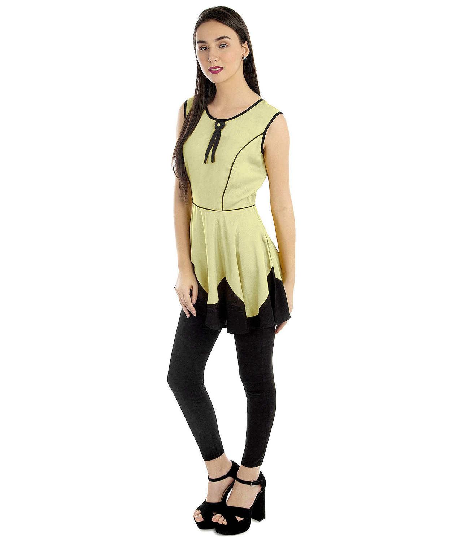 Peplum Top and Churidar Set Dress in Cream:Black
