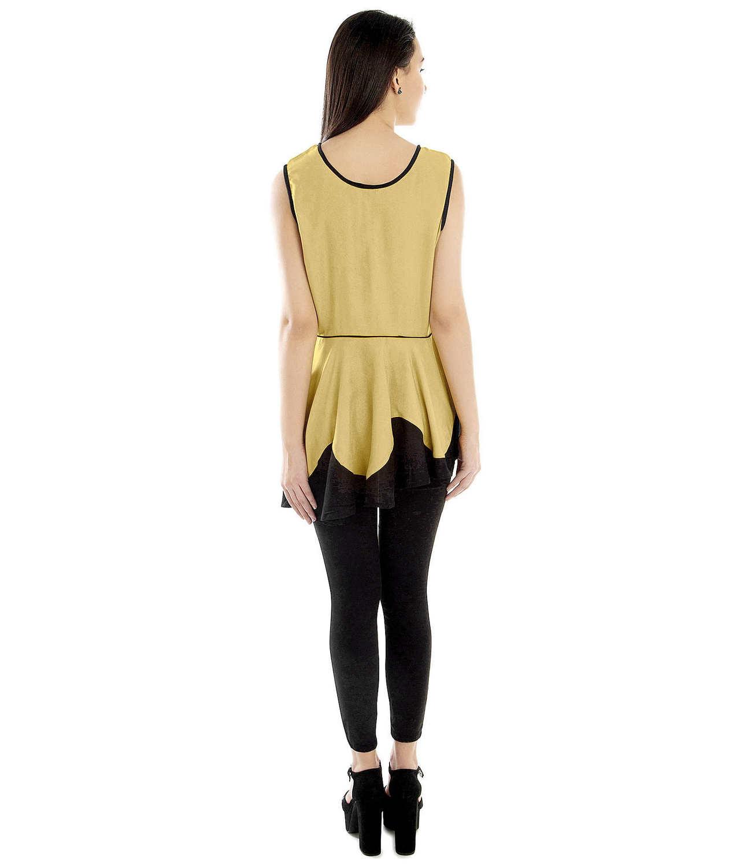 Peplum Top and Churidar Set Dress in Gold:Black
