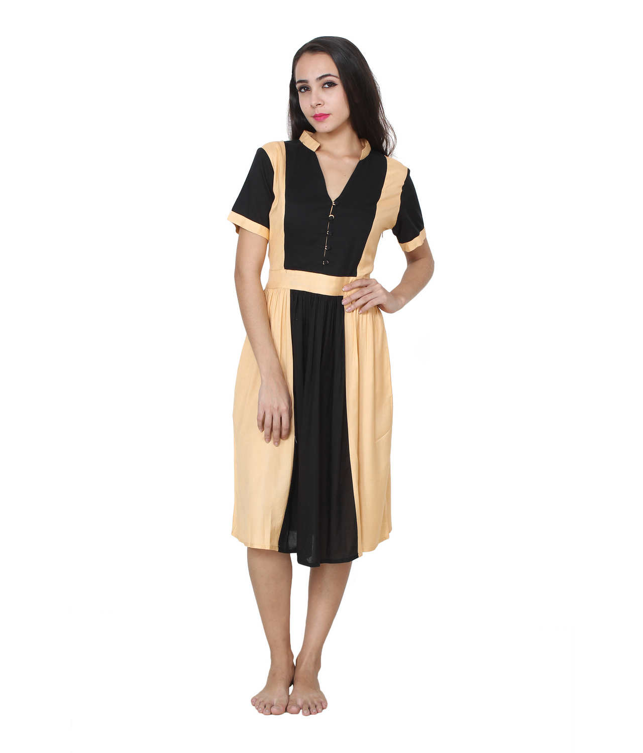 Pinafore Style Midi Dress in Black:Gold