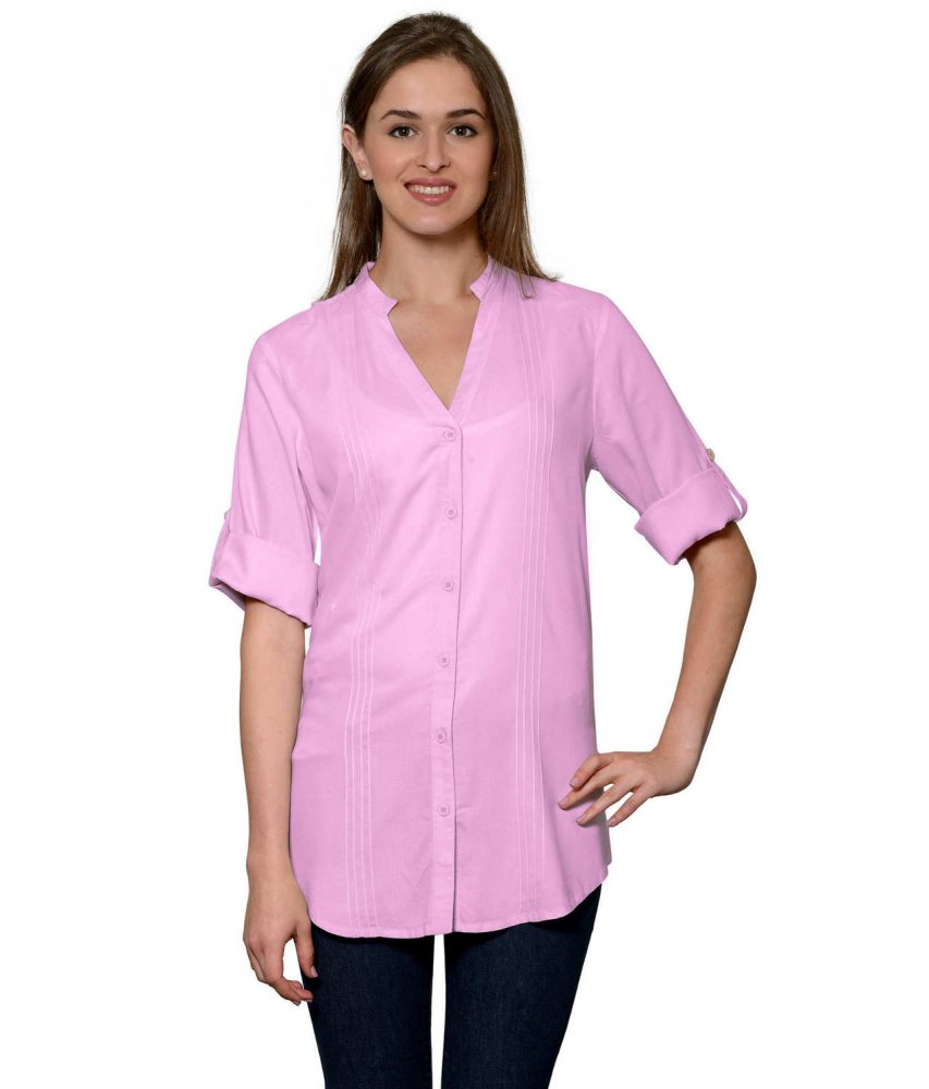 Pintuck Rollup Sleeve Shirt in Baby Pink
