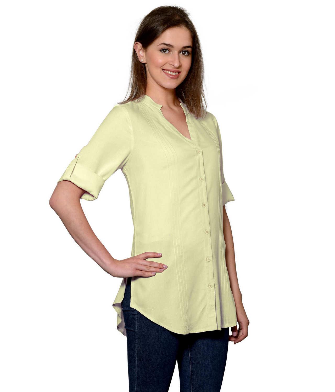 Pintuck Rollup Sleeve Shirt in Beige