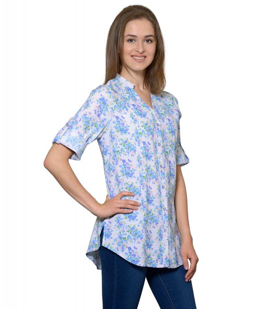 Pintuck Rollup Sleeve Shirt in Blue Print