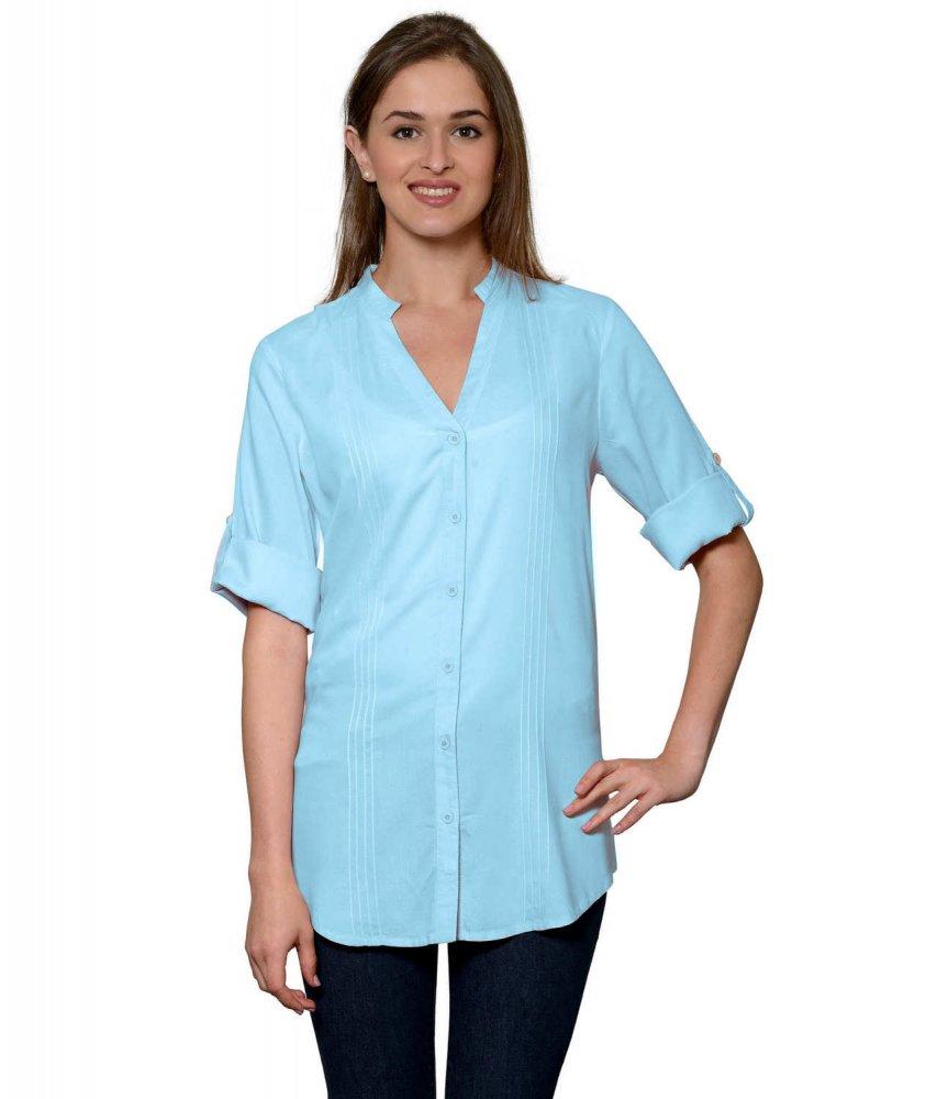 Pintuck Rollup Sleeve Shirt in Light Blue