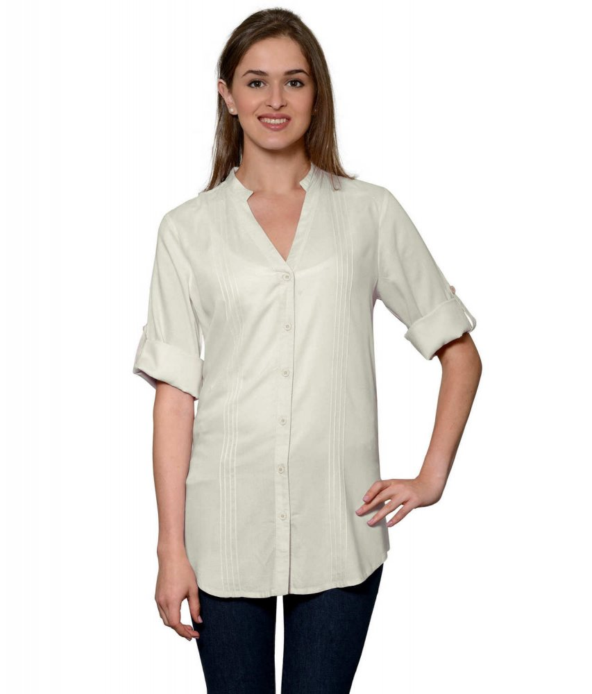 Pintuck Rollup Sleeve Shirt in Off-White