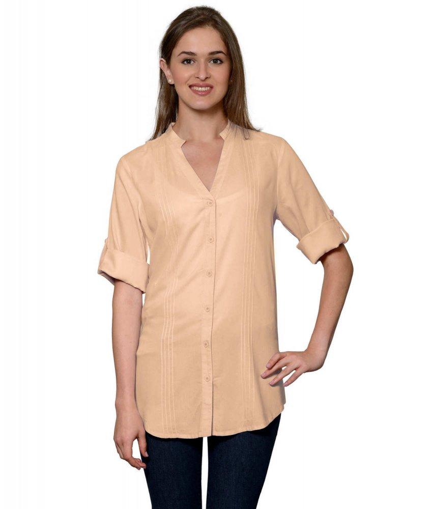 Pintuck Rollup Sleeve Shirt in Peach