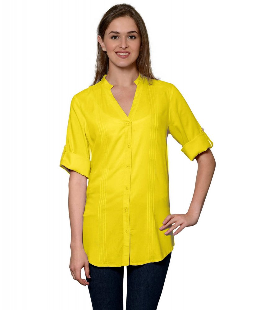 Pintuck Rollup Sleeve Shirt in Yellow