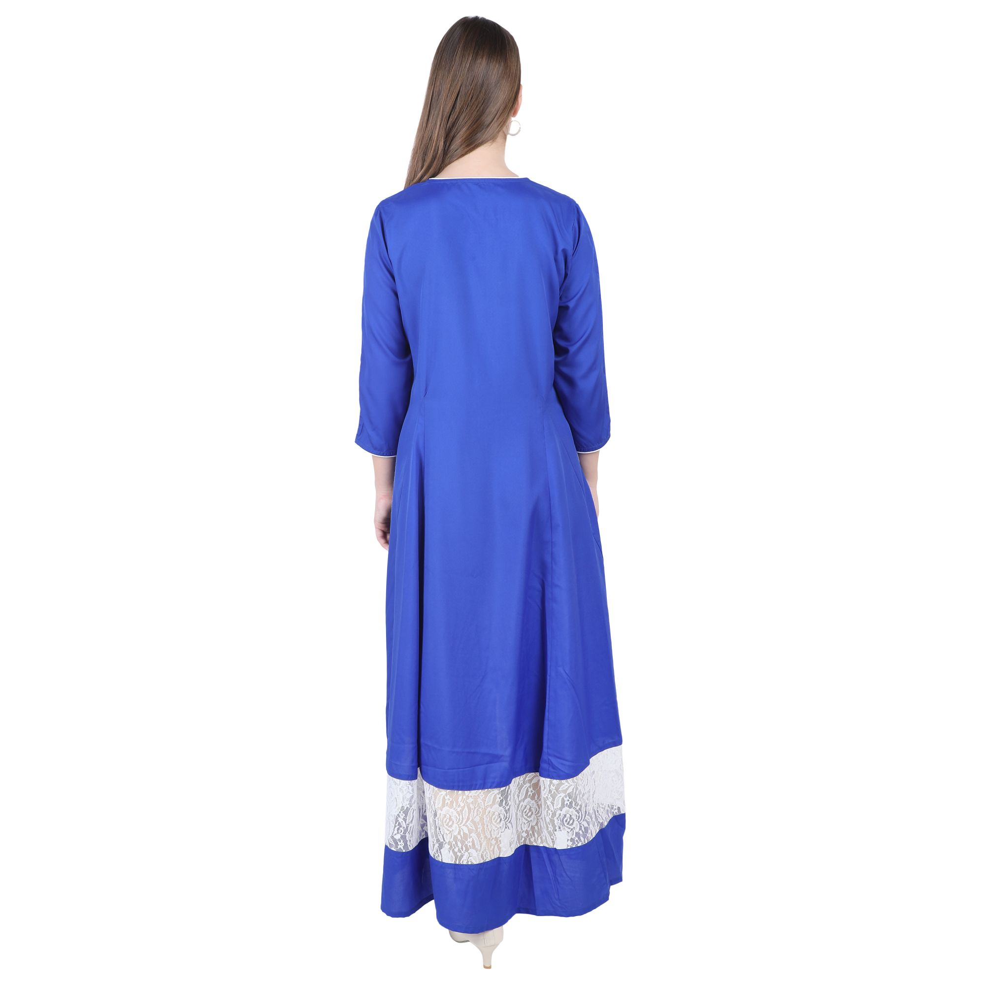 Pleated Full Length Kurti Style Dress in Royal Blue
