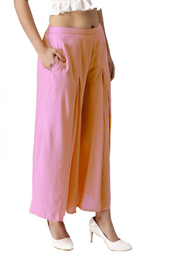 Pleated Regular Fit Palazzo Pant in Baby Pink