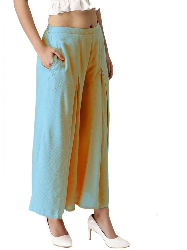Pleated Regular Fit Palazzo Pant in Light Blue