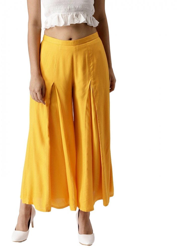 Pleated Regular Fit Palazzo Pant in Mustard