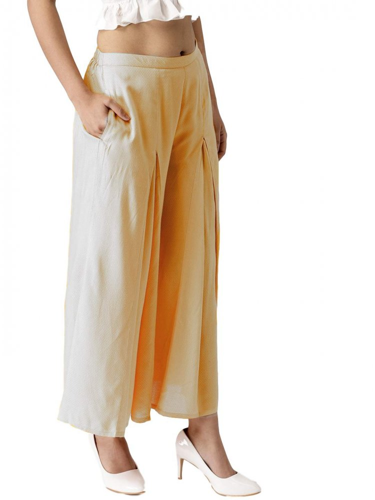 Pleated Regular Fit Palazzo Pant in White