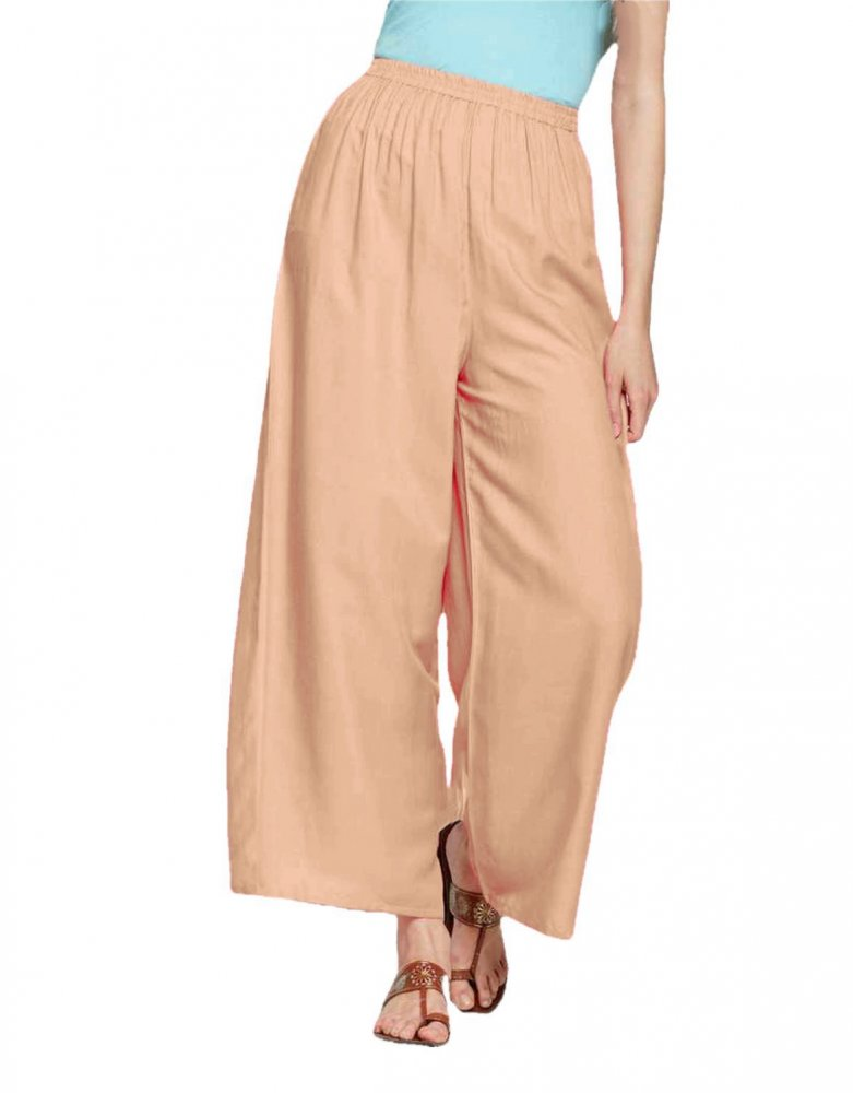 Pleated Regular Palazzo Pant in Peach