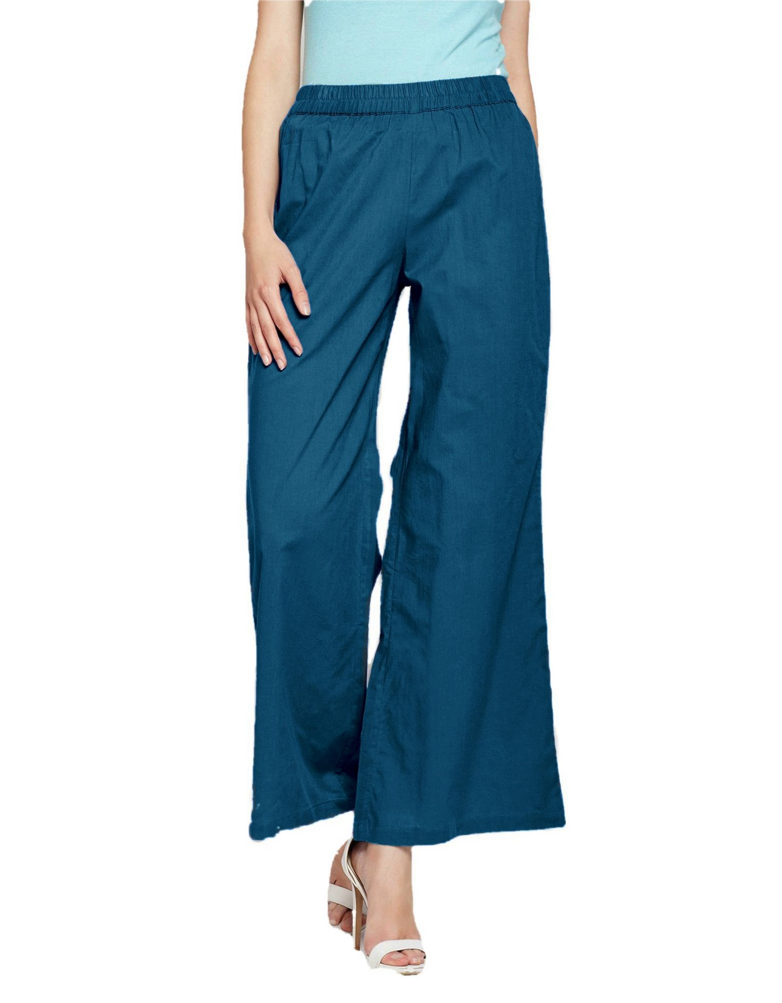 Pleated Regular Palazzo Pant in Sky Blue