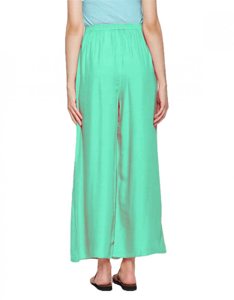 Pleated Regular Palazzo Pant in Teal Green