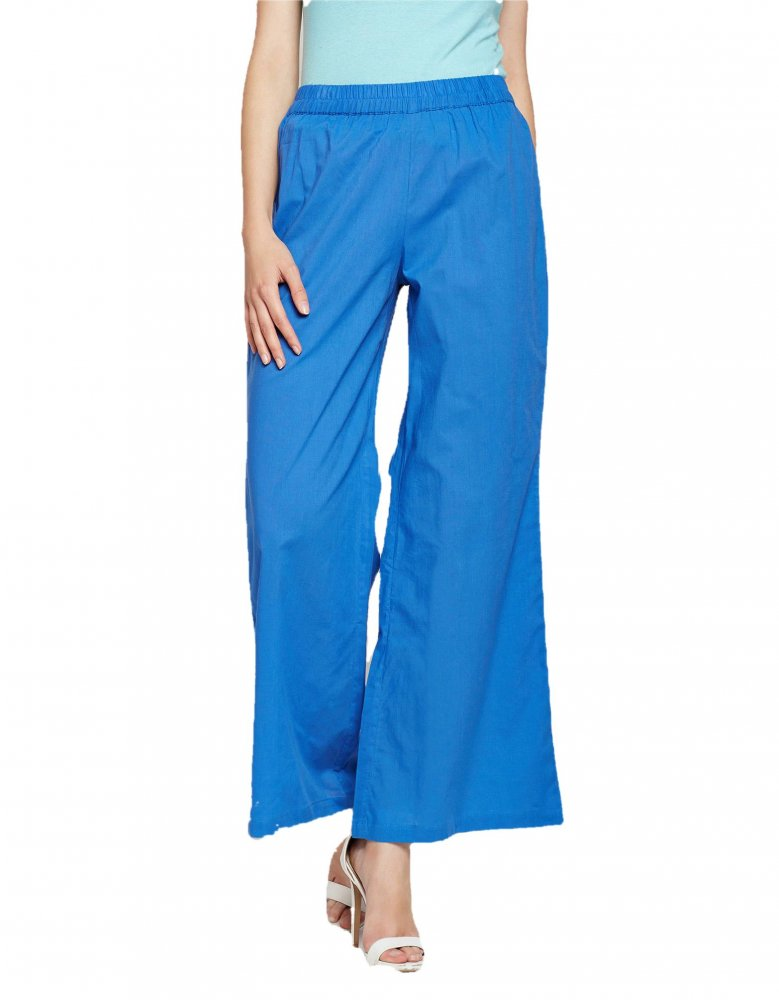 Pleated Regular Palazzo Pant in Turquoise Blue