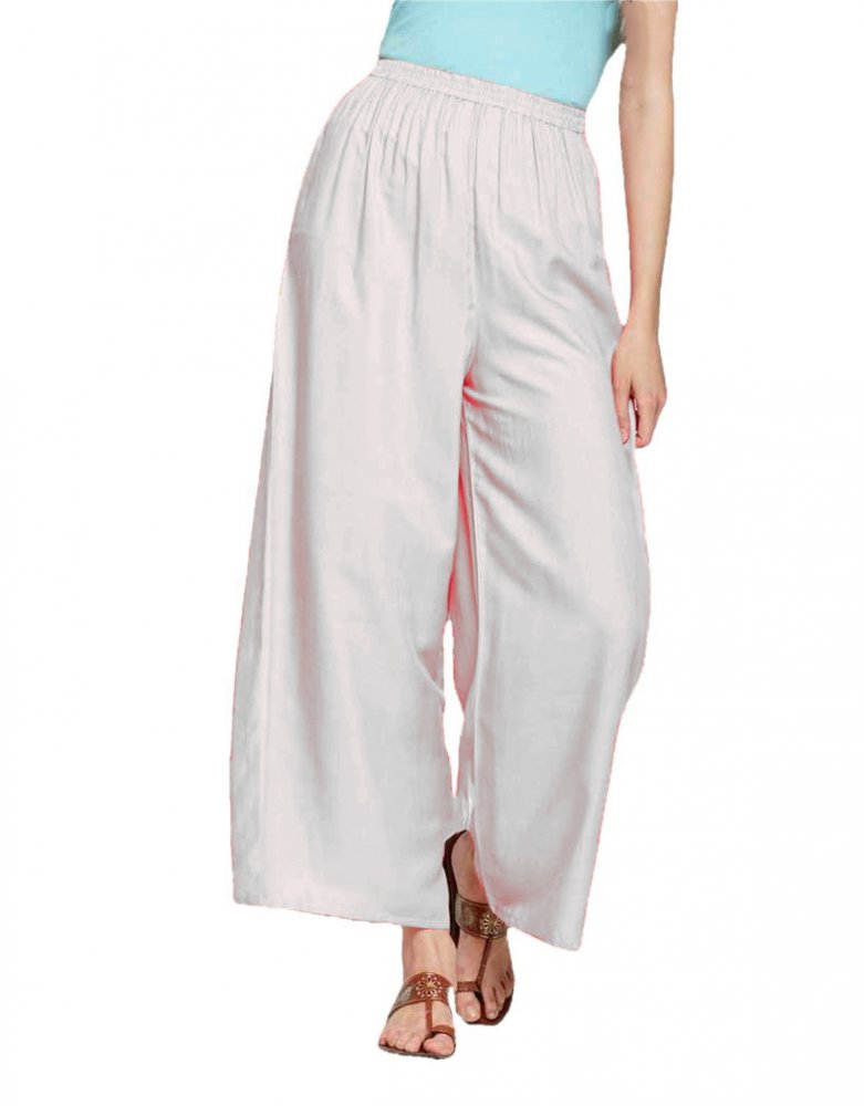 Pleated Regular Palazzo Pant in White