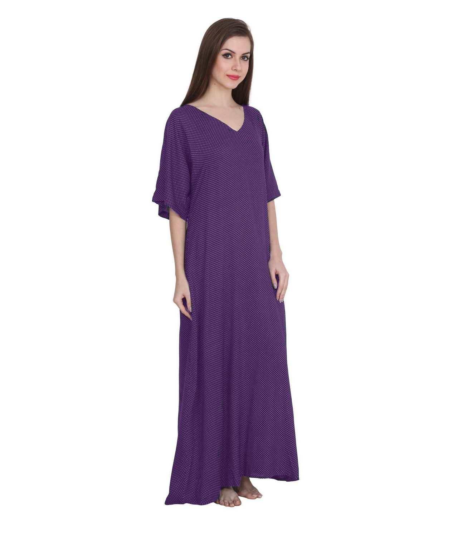 Polka Dot Print Shift Maxi Night-Gown Nighty in Purple