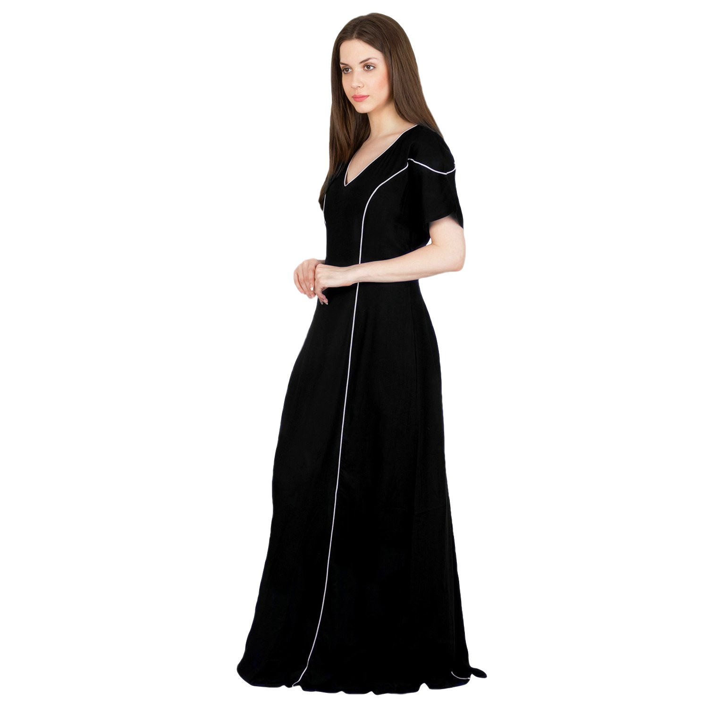 Princess Line Peplum Nighty in Black