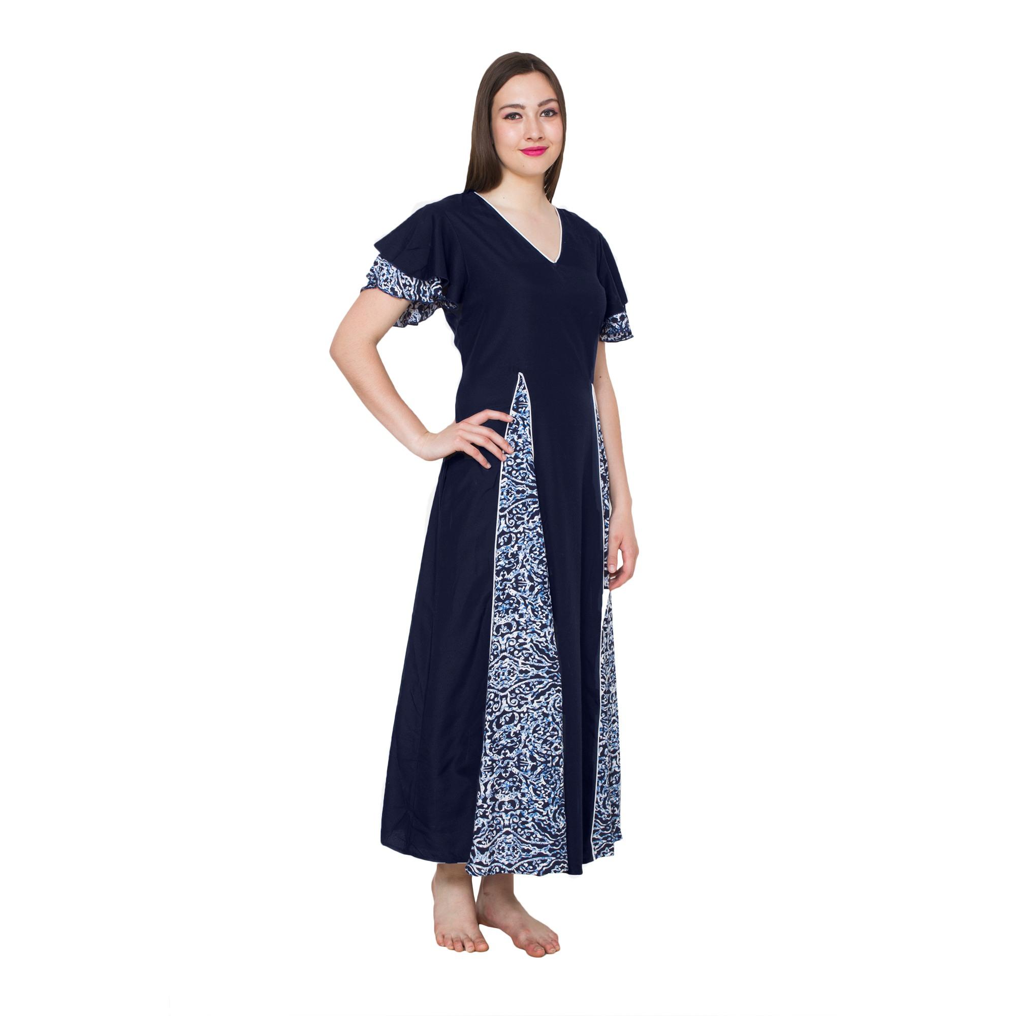 Princess Line Smock Peplum Nighty Gown in Dark Blue