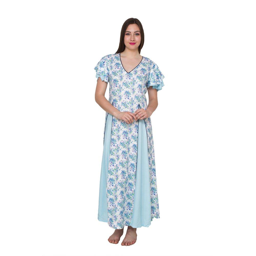Princess Line Smock Peplum Nighty Gown in Light Blue