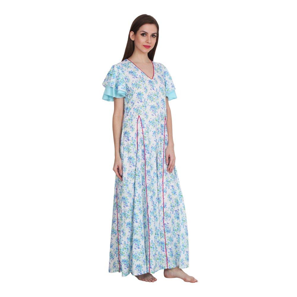 Princess Line Smock Peplum Nighty Gown in Light Blue Print