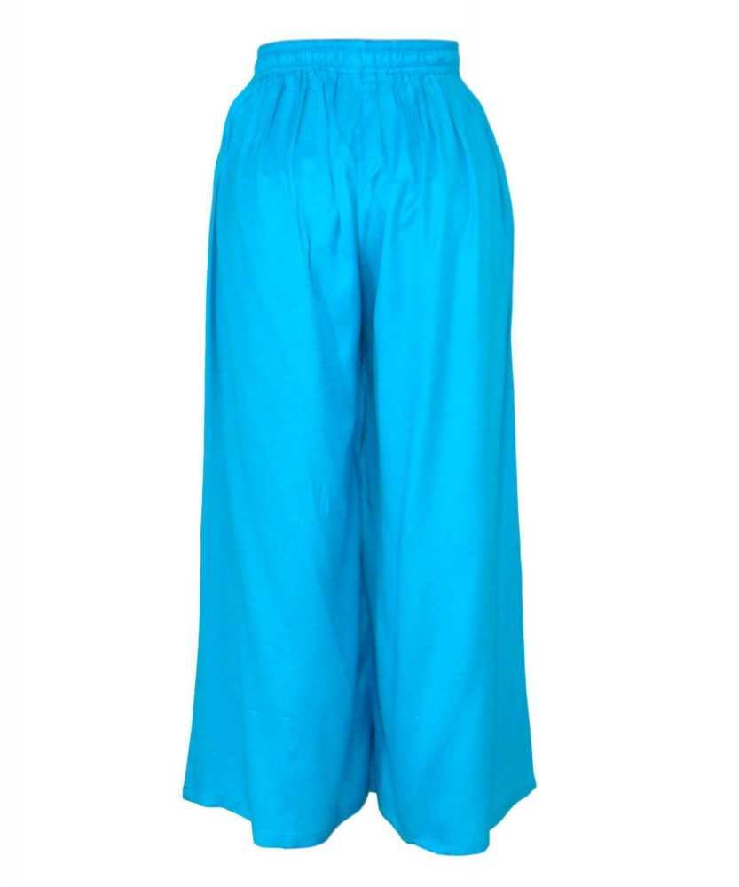 Regular Fit Palazzo Pant in Turquoise Blue