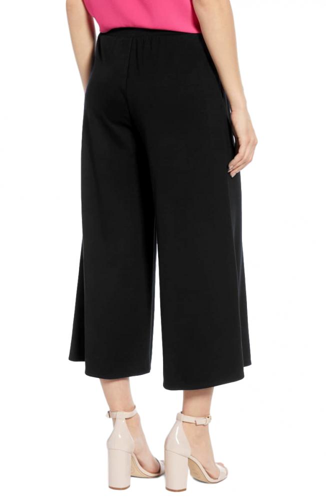 Regular Fit Tie Capri Trouser Pant in Black
