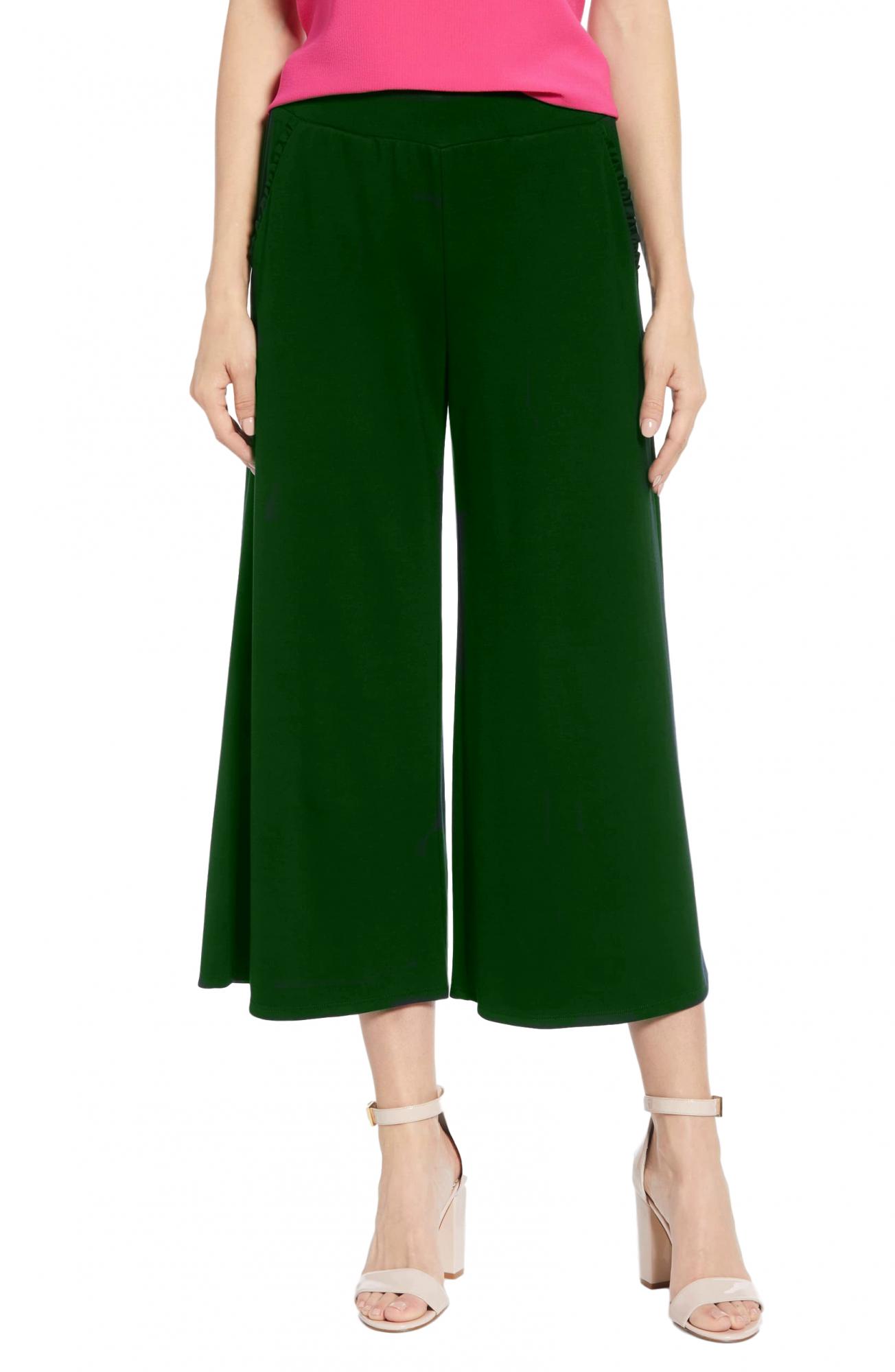 Regular Fit Tie Capri Trouser Pant in Bottle Green