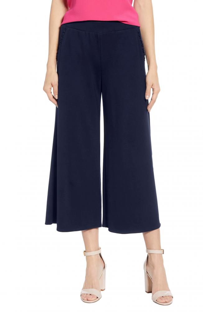Regular Fit Tie Capri Trouser Pant in Dark Blue