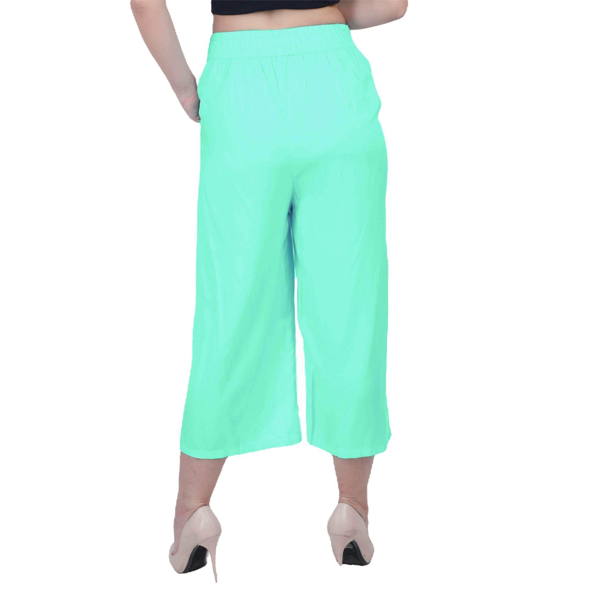 Regular Fit Tie Capri Trouser Pant in Teal Green